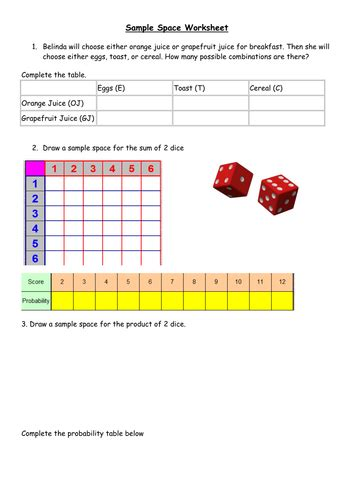 sle space ks3 probability activity by bballard