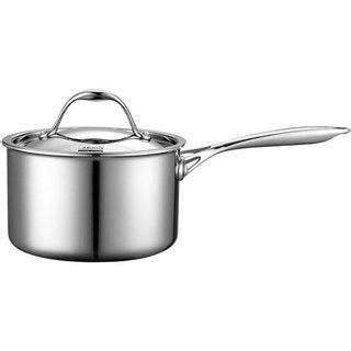 shop cooks standard  quart multi ply clad stainless steel saucepan overstock