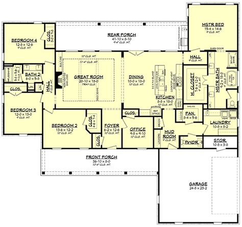 Traditional Style House Plan 80804 with 4 Bed 3 Bath 2