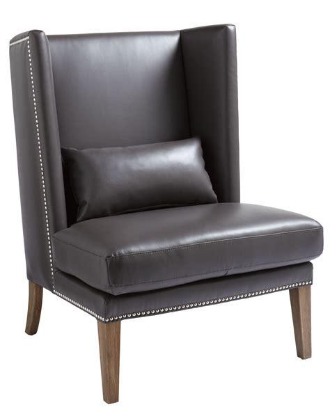 malibu grey leather wing chair 12998 sunpan