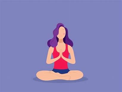 Yoga Gifs Mind Meditation Calm Cartoon Animation