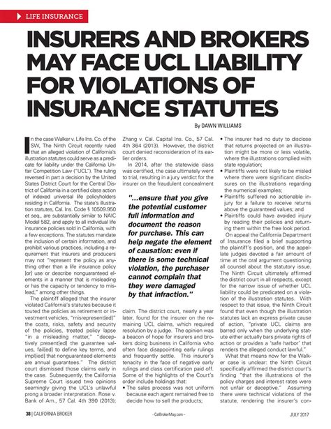 A member of the berkshire hathaway family of companies, united states liability insurance group is an a++ rated company that supports its products with financial strength and stability. California Broker July 2017 Edition by California Broker Magazine - Issuu