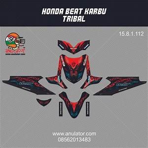 Jual Sticker Striping Motor Stiker Honda Beat Karbu Merah Tribal Spec A Di Lapak Arfan