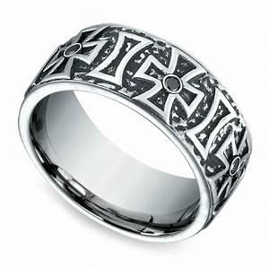 cross black diamond men39s wedding ring in cobalt 9mm With black diamond mens wedding rings