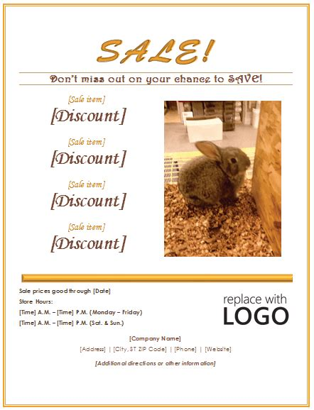 sale flyer template easy   advertise  selling