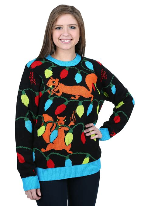 igly sweater squirrely lights sweater