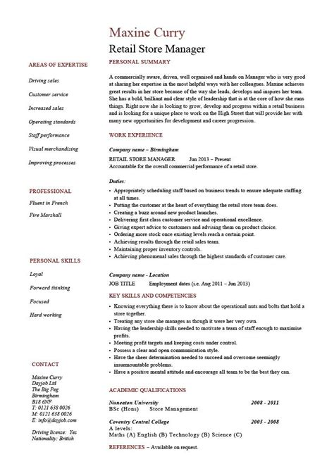 Resume For Retail Clothing Store by Retail Store Manager Resume Objective Cv Templates