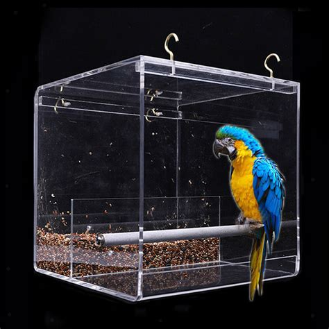 Parrot Feeder by No Mess Bird Feeder Parrot Integrated Clear Feeder For