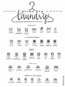 Laundry Care Guide  Laundry Symbols Chart  Calligraphy Art  Housewarming Gift  Black And White