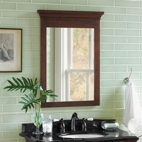 bryant transitional solid wood framed bathroom mirror