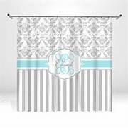 Grey And Aqua Shower Curtain by Personalized Aqua And Gray Damask Shower By ItsPerfectlyPosh