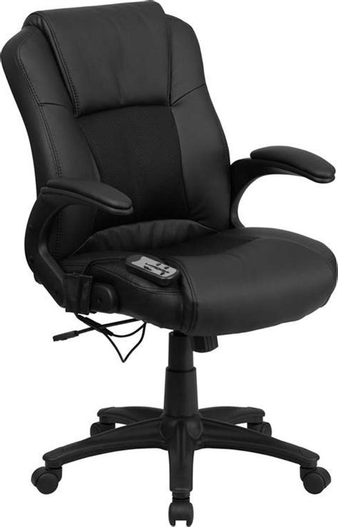 Black Leather Mid Back Massaging Office Chair [BT-2536P-1