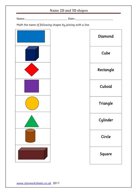 year 1 match 2d and 3d shapes names worksheet star worksheets