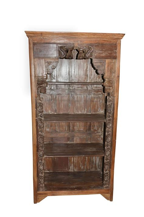 antique traditional hand carved indian book case bookshelf