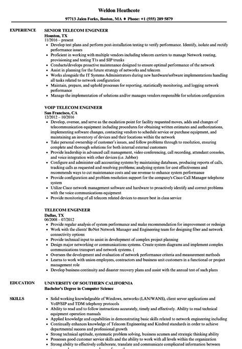 telecom engineer resume samples velvet jobs