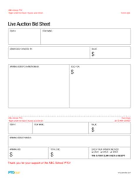 live bid auction auction toolkit pto today