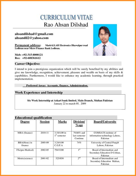 curriculum vitae template word 2010 6 cv format in