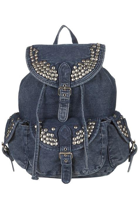 topshop studded denim backpack  blue lyst