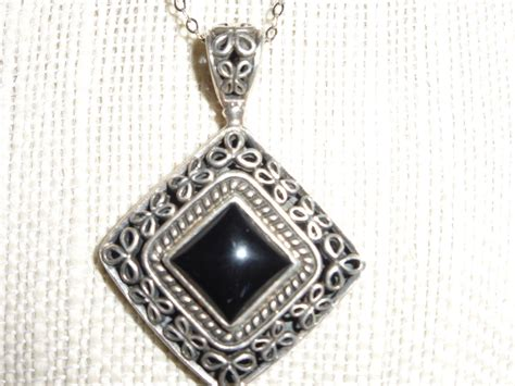 vintage black onyx sterling silver pendant necklace