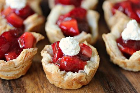 strawberry filled mini puff pastries