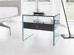 Glass Side Tables For Bedroom by Nella Vetrina Tonelli Secret Modern Italian Designer Bedside Table