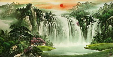 large chinese waterfall landscape painting chinese artwork