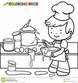 Cooking Coloring Mess Making Boy Kitchen Outline Vector Illustration Line sketch template
