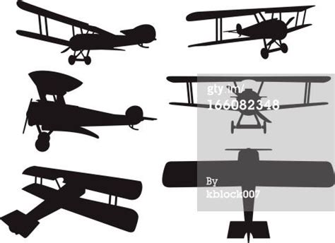 vector silhouettes   ww era biplane art