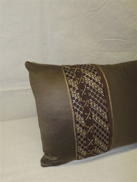 Pair Of Brown Metallic Embroidery Miao Silk Lumbar Pillows
