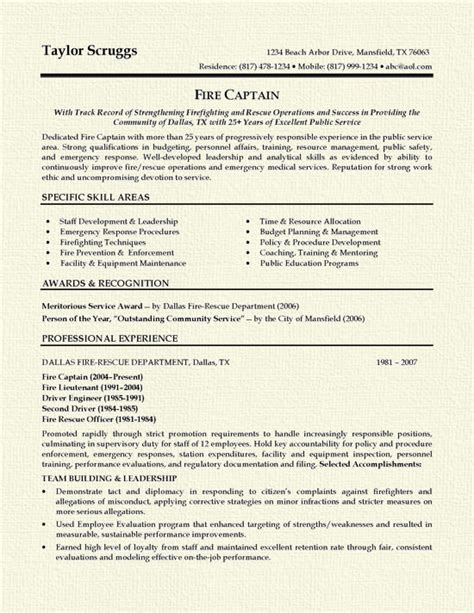 Firefighter Resume Skills Exles by Fireman Resume Exle