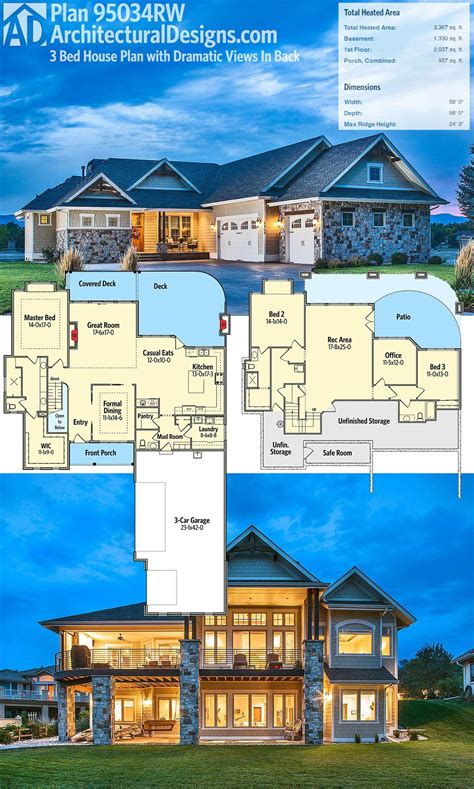 Plan 95034RW: Craftsman House Plan with Dramatic Views In