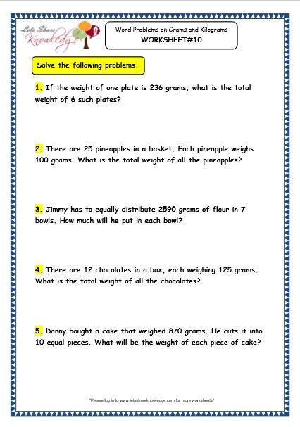 grade  maths worksheets  word problems