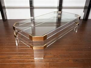 lucite and brass coffee table by charles hollis jones at With lucite and wood coffee table