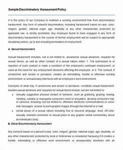policy templates sample discriminatory harassment policy With sexual harassment policy template