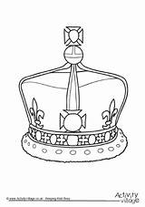 Crown Queen Colouring Pages Coloring Elizabeth Royal Ii Jewels Birthday Crowns British Tattoo Jewel Village King Sheets England 90th Activity sketch template
