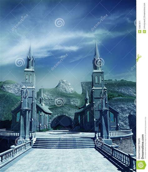 entrance gate  fantasy castle stock illustration