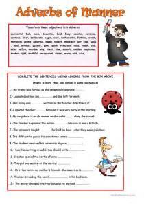 adverbs  manner worksheet  esl printable
