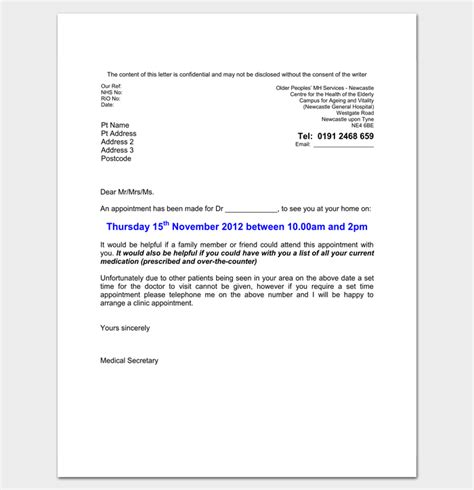 doctor appointment letter template  samples examples