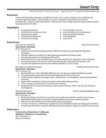 Free Resume Sles For Operations Manager by Operation Manager Resume The Best Letter Sle