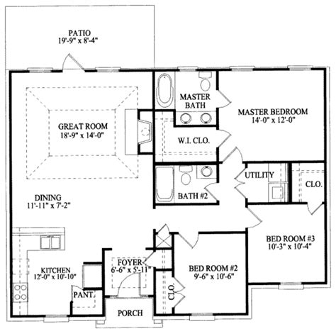 southern style floor plans southern style house plan 3 beds 2 baths 1414 sq ft plan