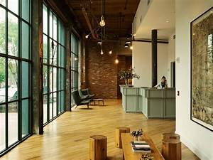 Explore the chic industrial modern lobby of Wythe Hotel by ...
