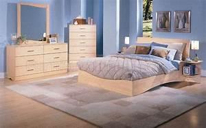 Natural Wood Finish Modern Platform Bed WOptional Case Pieces