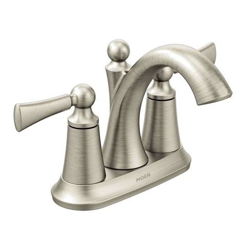 moen brushed nickel kitchen faucet shop moen wynford brushed nickel 2 handle 4 in centerset watersense bathroom faucet drain
