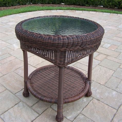outdoor resin wicker end table shop oakland living resin wicker 21 5 in w x 21 5 in l
