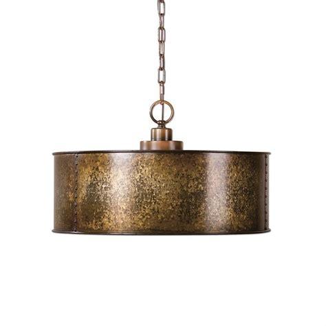 copper gold metal drum chandelier pendant light rustic