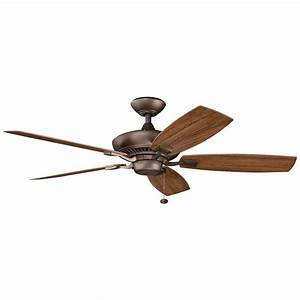 Kichler ceiling fan in weathered copper finish wcp