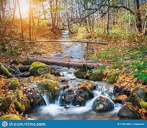 beautiful, cascade, waterfall, and, wooden, bridge, in, autumn