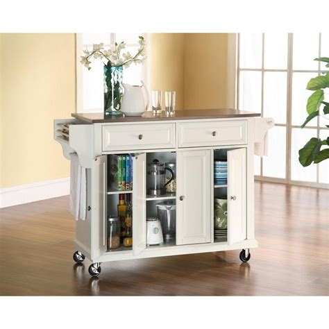 stainless steel kitchen island home depot crosley white kitchen cart with stainless steel top 9399
