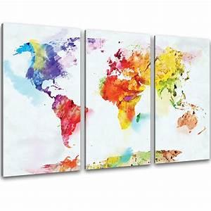 Weltkarte Bild Holz : kunstdruck auf leinwand bilder bunte weltkarte retro ~ Lateststills.com Haus und Dekorationen