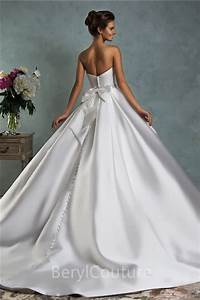 simple royal ball gown strapless satin draped wedding With satin ball gown wedding dresses